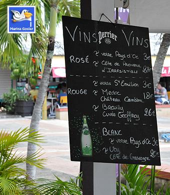Crêperie - Tableau des vins